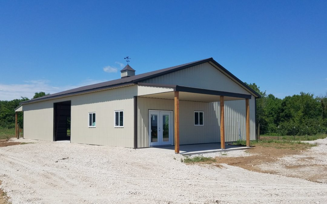 Metal Bldg with Front Porch & Lean-to